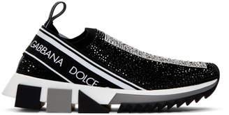 Dolce & Gabbana Black Rhinestone Sorrento Sneakers
