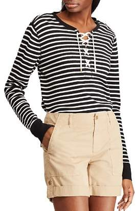 Ralph Lauren Stripe Lace-Up Thermal Top