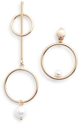 Danielle Nicole Mismatched Imitation Pearl Statement Earrings