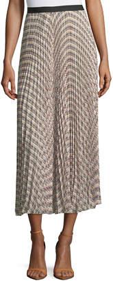 Derek Lam Basketweave-Print Pleated Midi Skirt