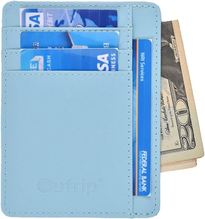 Outrip RFID Slim Wallet Leather Front Pocket Minimalist Wallet Card Holder Money Clip(crosshathpink)