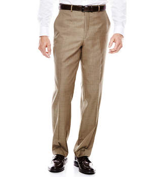 STAFFORD Stafford Travel Brown Sharkskin Flat-Front Suit Pants - Classic Fit