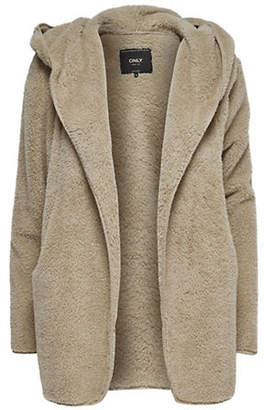 Only Hooded Open-Front Sherpa Coat
