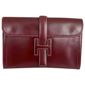 Hermes Vintage Jige Burgundy Leather Clutch Bag