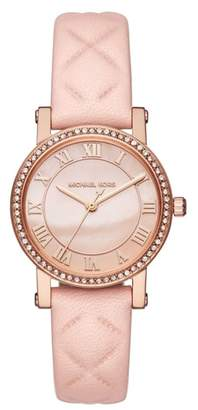 Michael Kors Petite Norie Crystal Accent Leather Strap Watch, 28mm
