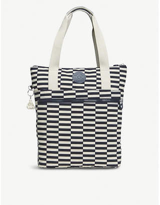 Kipling Realfun A4 nylon striped shoulder tote bag/backpack