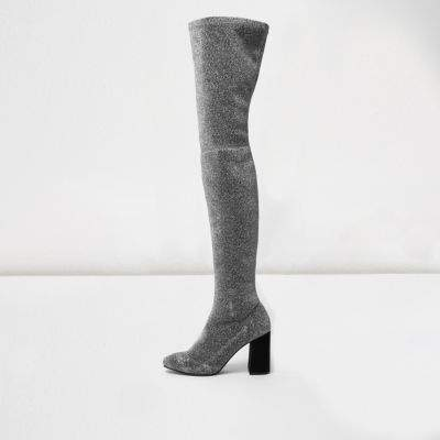 River IslandRiver Island Womens Silver glitter over-the-knee stretch boots