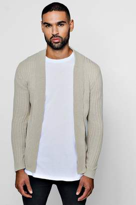 BoohooMAN Muscle Fit Ribbed Edge To Edge Cardigan