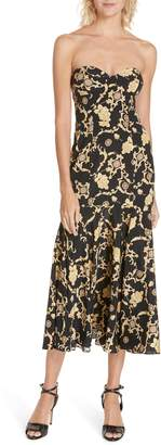 Veronica Beard Annika Floral Print Strapless Stretch Silk Dress