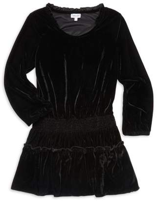 Ella Moss Girl's Ruffled & Smocked A-Line Velvet Dress
