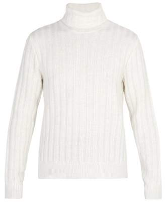 Ami - Ribbed Knit Roll Neck Sweater - Mens - White