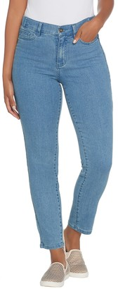 Denim & Co. Perfect Denim Slim Straight Ankle Jeans w/ Rib Waistband