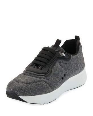 Prada Linea Rossa Metallic Lace-Up Wedge Sneakers, Gray
