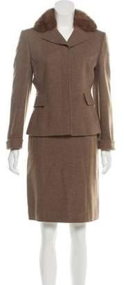 Akris Fur-Trimmed Skirt Suit