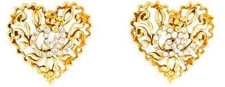 Christian Lacroix Crystal Heart Clip-On Earrings