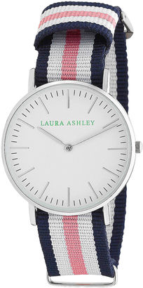 Laura Ashley Ladies Blue White And Pink Knitted Colored Band With Silver Ultra-Thin Case Watch La31016Pk $295 thestylecure.com