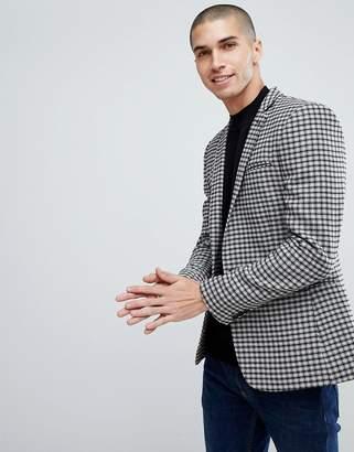 Asos DESIGN Super Skinny Blazer In Gray Wool Mix Mini Check