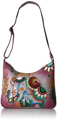 Anuschka Anna by Women's Genuine Leather Medium Hobo Shoulder Bag | Hand Painted Original Artwork | Retro Elephant
