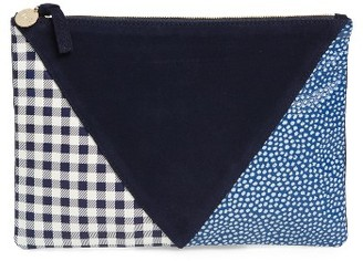 Clare V. Patchwork Leather Clutch - Black $235 thestylecure.com