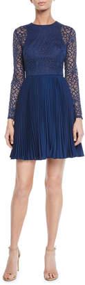 Aidan Mattox Crewneck Bracelet-Sleeve Illusion Lace Mini Dress w\/ Pleated Skirt