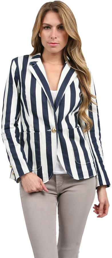 Juicy Couture Awning Stripe Jacket in Angel