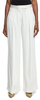 DKNY Pleated Wide-Leg Crepe Pants, Gesso $498 thestylecure.com