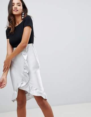 AX Paris Bardot Wrap Front Dress With Frill Detail