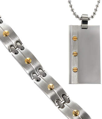 JCPenney FINE JEWELRY Men's Two-Tone Stainless Dog Tag & Bracelet in Valet Box