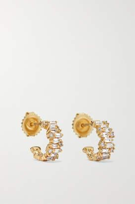 Suzanne Kalan 12mm 18-karat Gold Diamond Hoop Earrings