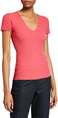 Emporio Armani Boxed-Knit Shell, Pink