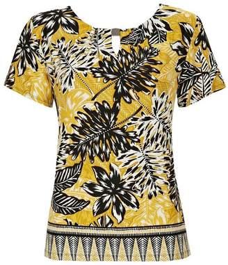 Wallis Ochre Palm Print Border T-Shirt