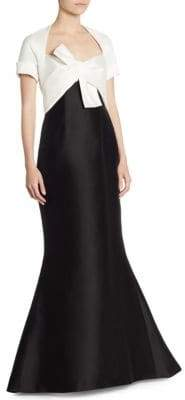 Carolina Herrera Short-Sleeve Bow Gown