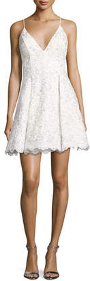 Jovani Sleeveless Floral Lace Fit-and-Flare Cocktail Dress, Off White/Silver