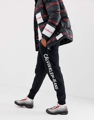 Calvin Klein Jeans institutional side logo sweatpants in black