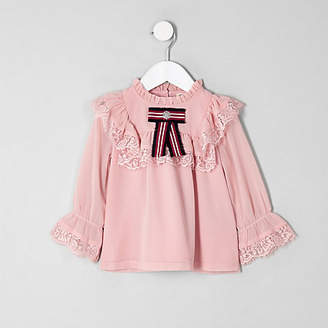 River Island Mini girls pink lace frill swing top