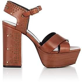 Saint Laurent Women's Farrah Studded Leather Platform Sandals-Beige, Tan