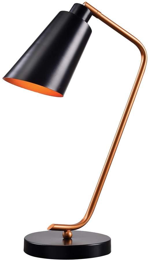 Design Craft Matte Black Finish with Antique Brass Accents Alvar Desk Lamp