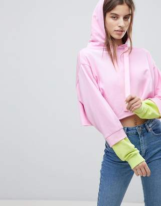 Asos DESIGN Cropped Hoodie With Color Block Sleeve