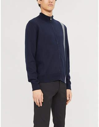 Corneliani Striped zip-through knitted cardigan