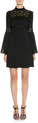Giambattista Valli Mock-Neck Lace-Trim Bell-Sleeve Dress