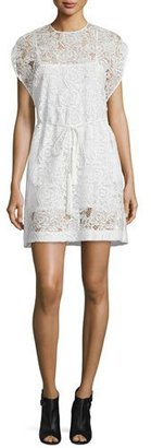 McQ Alexander McQueen Belted Lace Cape Dress, Ivory $740 thestylecure.com