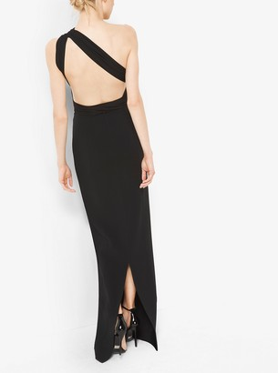 Michael Kors Double-Face Silk and Wool Crepe One-Shoulder Gown