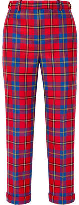 Versace Tartan Wool Straight-leg Pants - Red