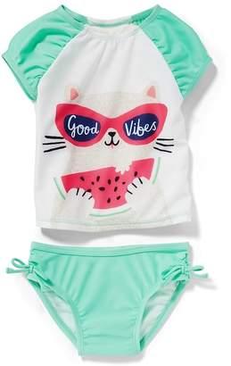 "Old Navy ""Good Vibes"" Rashguard Swim Set for Toddler Girls"