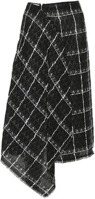 Roland Mouret Plaid cotton-blend skirt