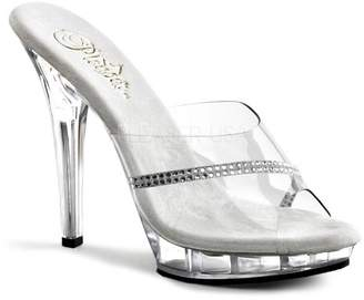 Pleaser USA Fabulicious Women's 5 Inch Stiletto Heel Platform Slide With Rhinestone (Clear/Rhinestone;6)