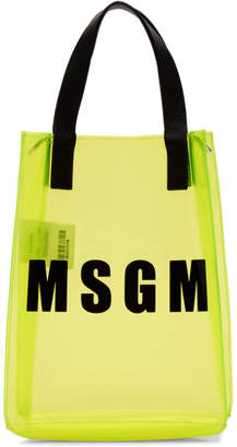 MSGM Yellow Mini Vinyl Plastic Shopper Tote