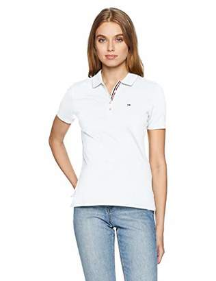 Tommy Hilfiger Tommy Jeans Women's Polo Shirt Original Flag with Short Sleeves, Black