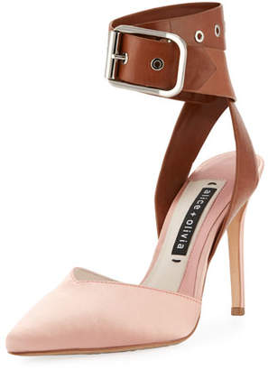 Alice + Olivia Rachelle Satin Two-Tone Pump