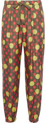 RED Valentino Polka-Dot Silk-Twill Track Pants